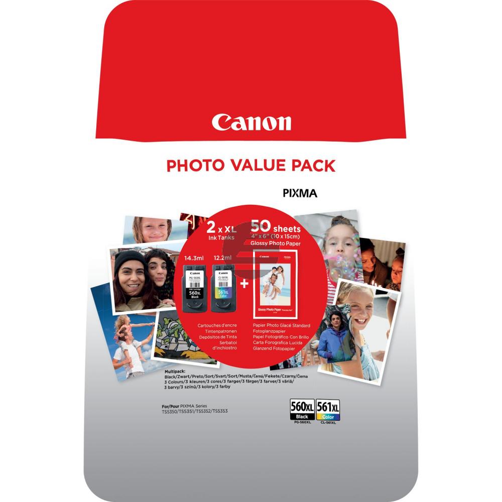 Canon Tintenpatrone cyan/gelb/magenta schwarz HC (3712C004, CL-561XL PG-560XL)