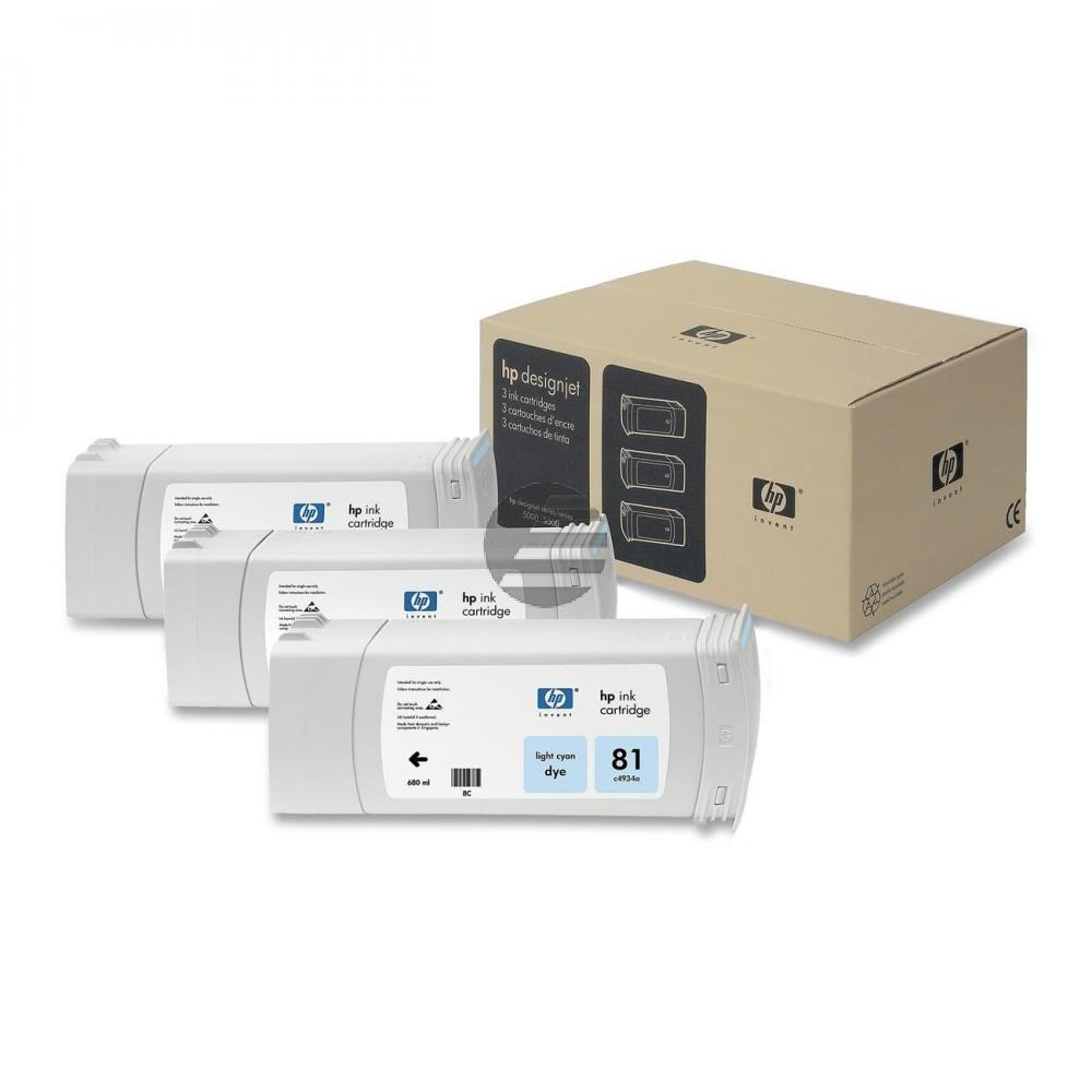 HP Tintenpatrone 3 x cyan light (C5070A, 81)