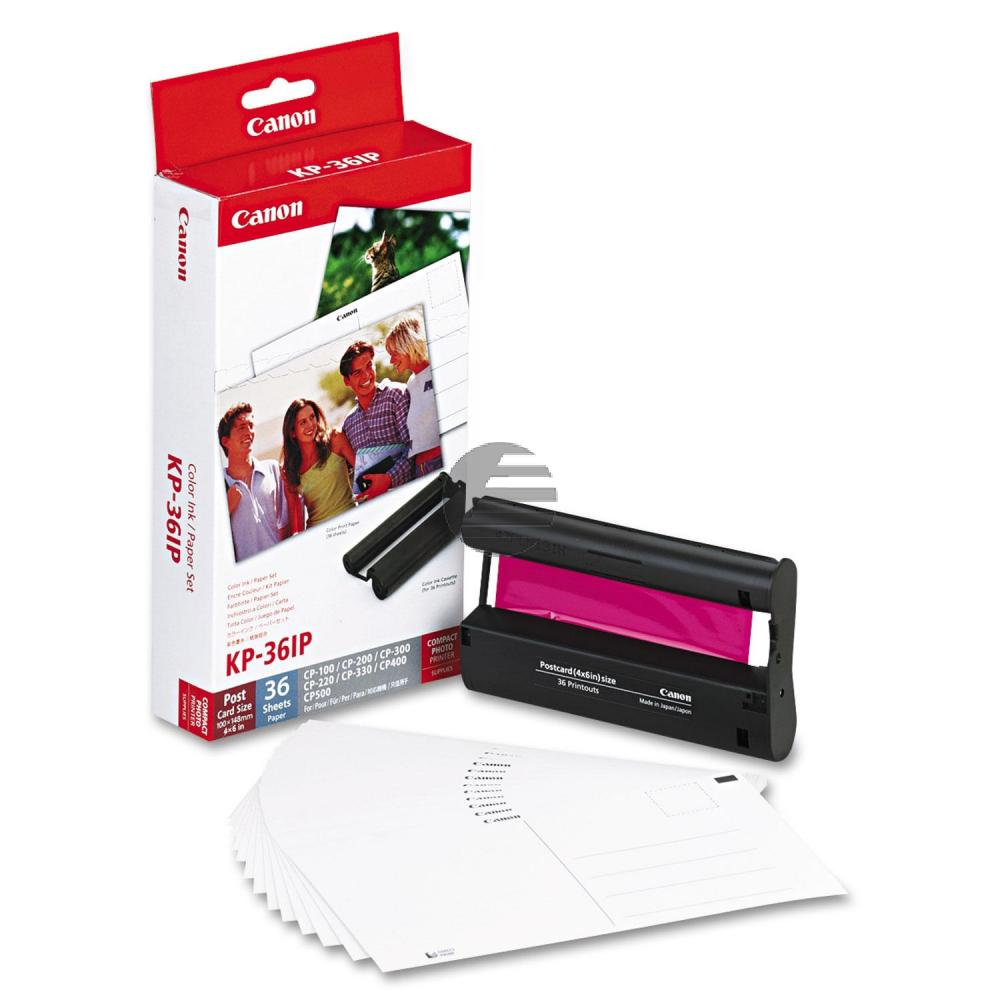 Canon Photo Paper 100x150mm Thermo-Transfer-Rolle weiß farbig 36 Blatt (7737A001, KP-36IP)