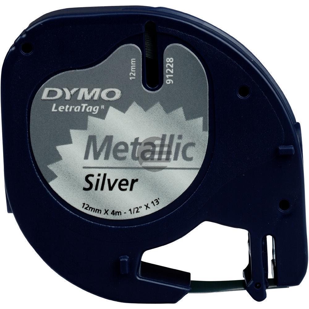 Dymo Schriftbandkassette schwarz/silber (91228)