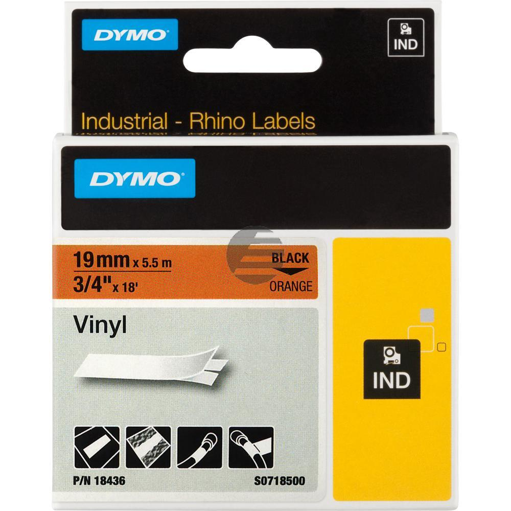 Dymo Farbiges Vinylband 190mm schwarz/orange (18436)