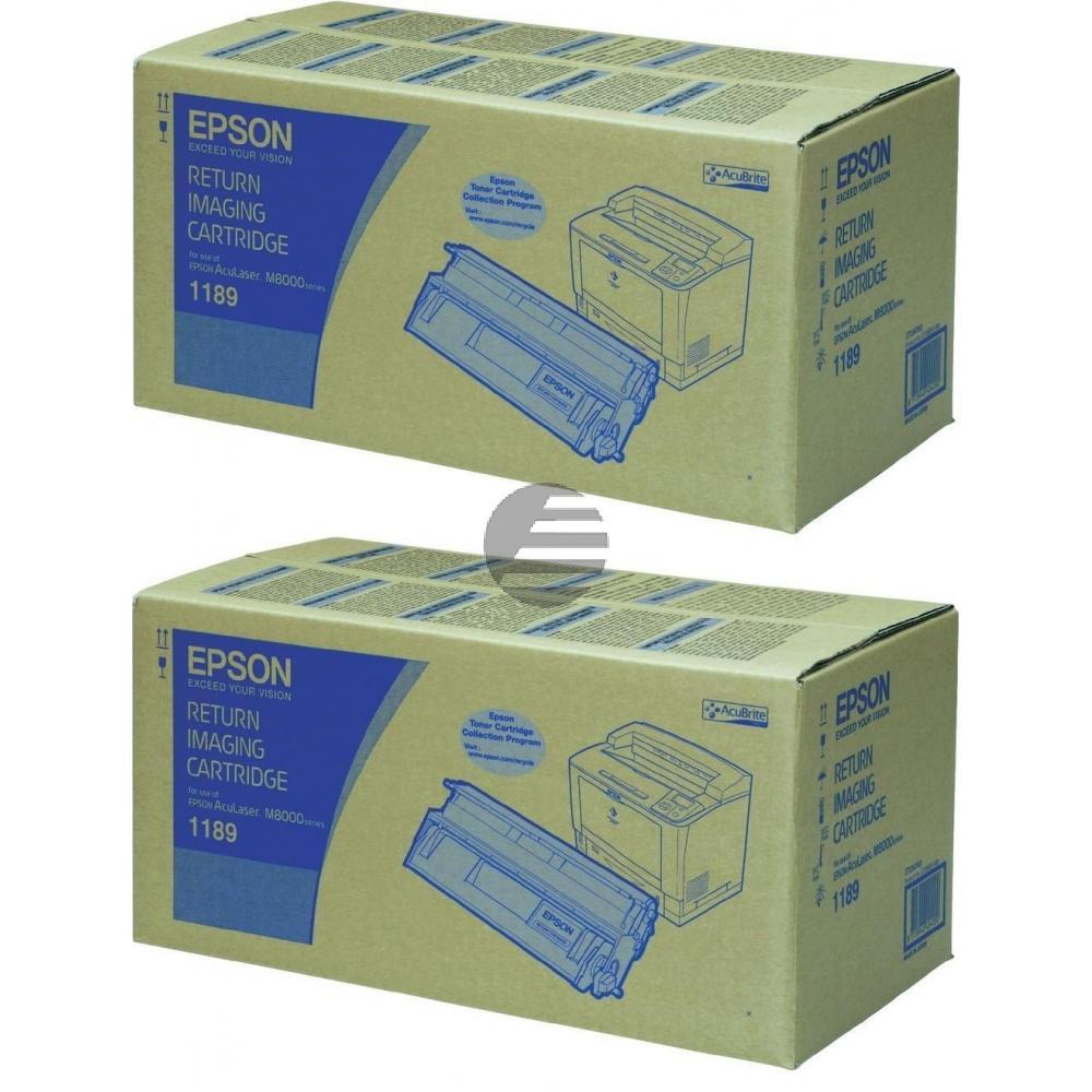 Epson Toner-Kartusche Return 2x schwarz 2-er Pack (C13S051189DB, 1189DB)