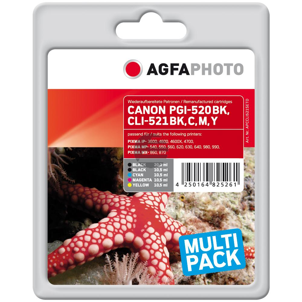 Agfaphoto Tinte gelb Cyan Magenta 2x schwarz (APCCLI521SETD)