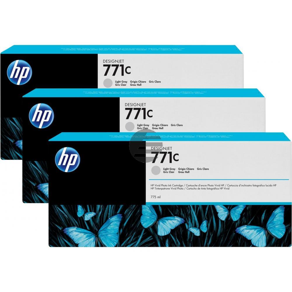 HP Tintenpatrone hellgrau 3er Pack (CR257A, 3x 771C)