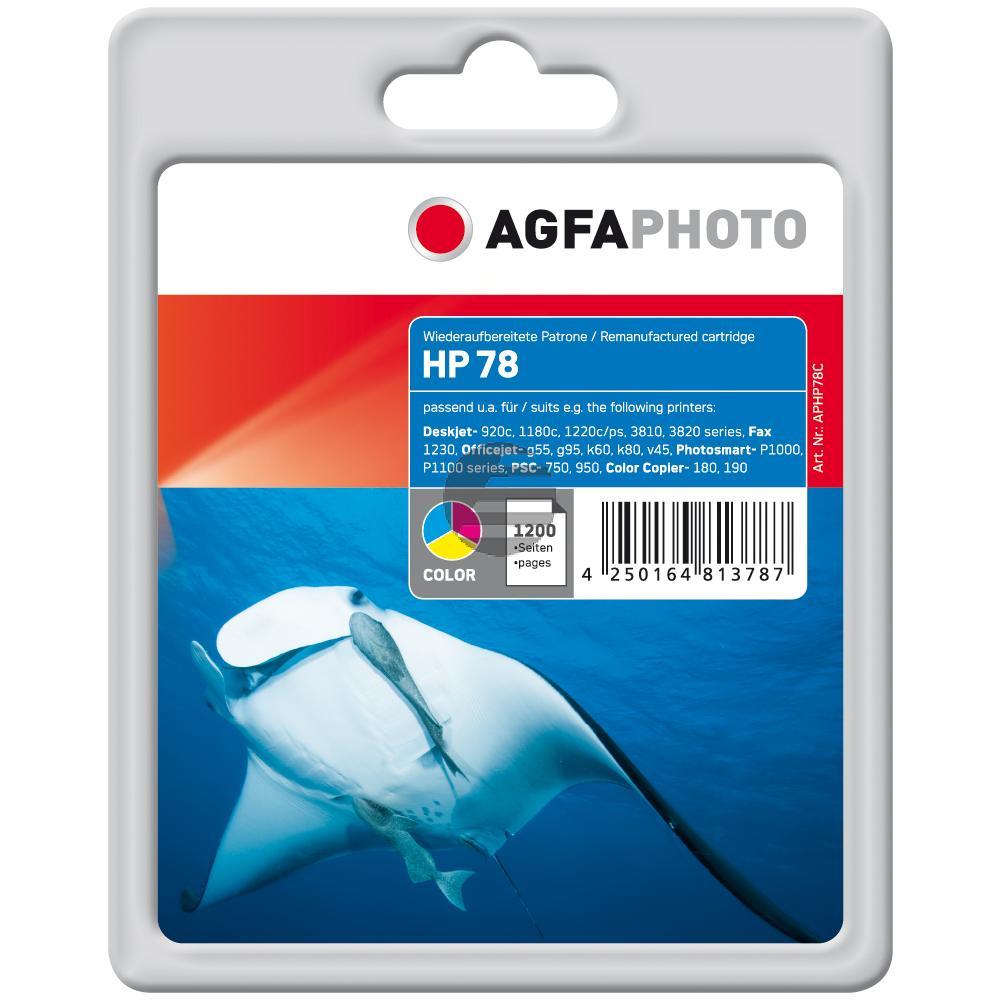 Agfaphoto Tintendruckkopf cyan/gelb/magenta HC (APHP78C) ersetzt C6578AE / 78