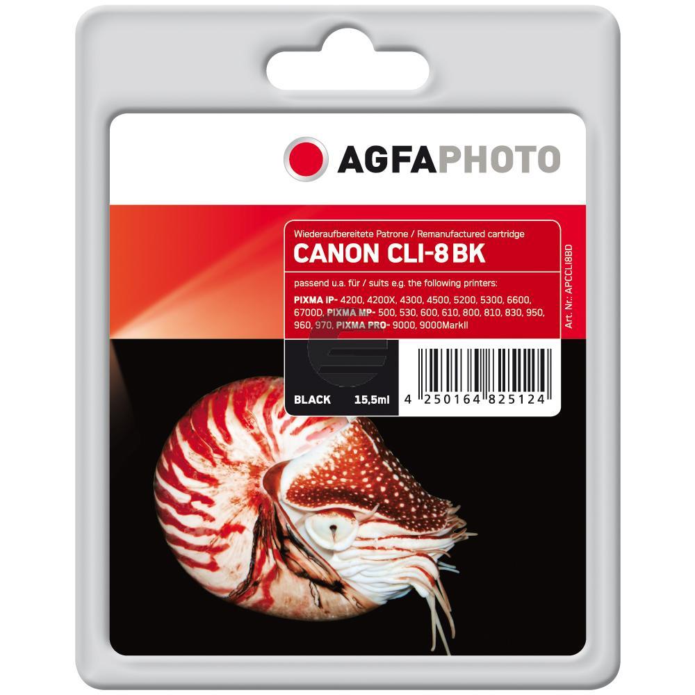 Agfaphoto Tintenpatrone schwarz (APCCLI8BD) ersetzt 0620B001 / CLI-8BK