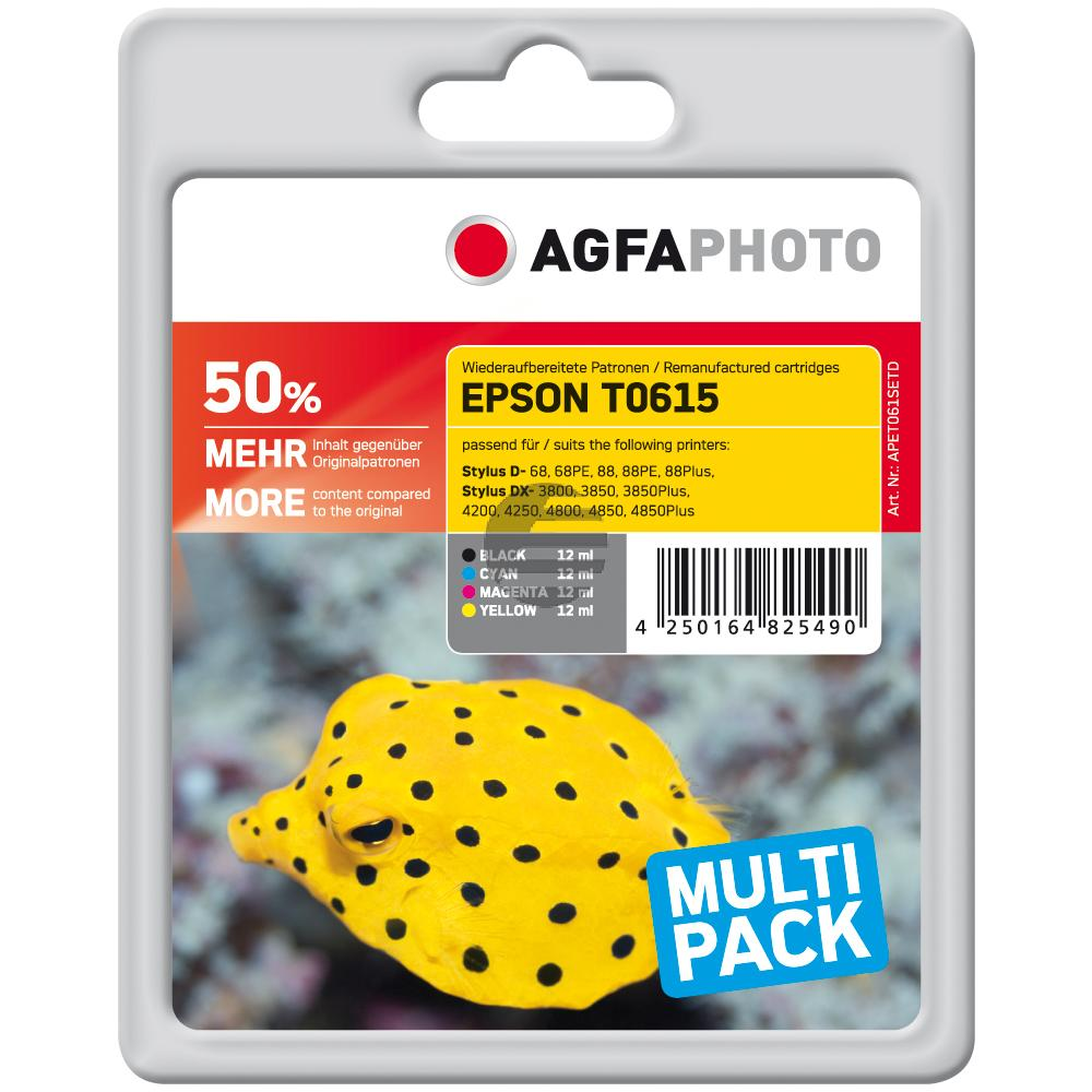 Agfaphoto Tintenpatrone gelb cyan magenta schwarz (APET061SETD) ersetzt C13T06154010 / T0615