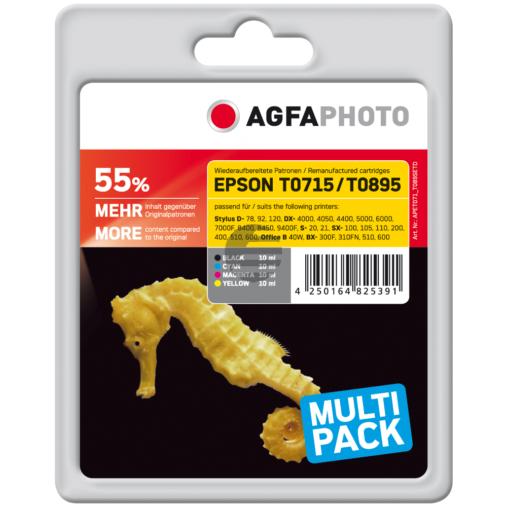 Agfaphoto Tintenpatrone gelb cyan magenta schwarz (APET071_T089SETD)