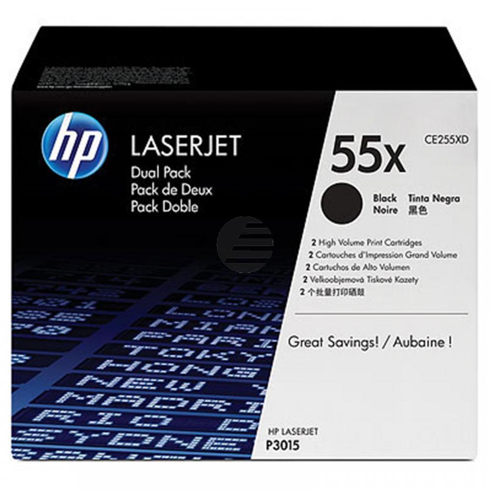 HP Toner-Kartusche 2x schwarz HC (CE255XD, 55XD)