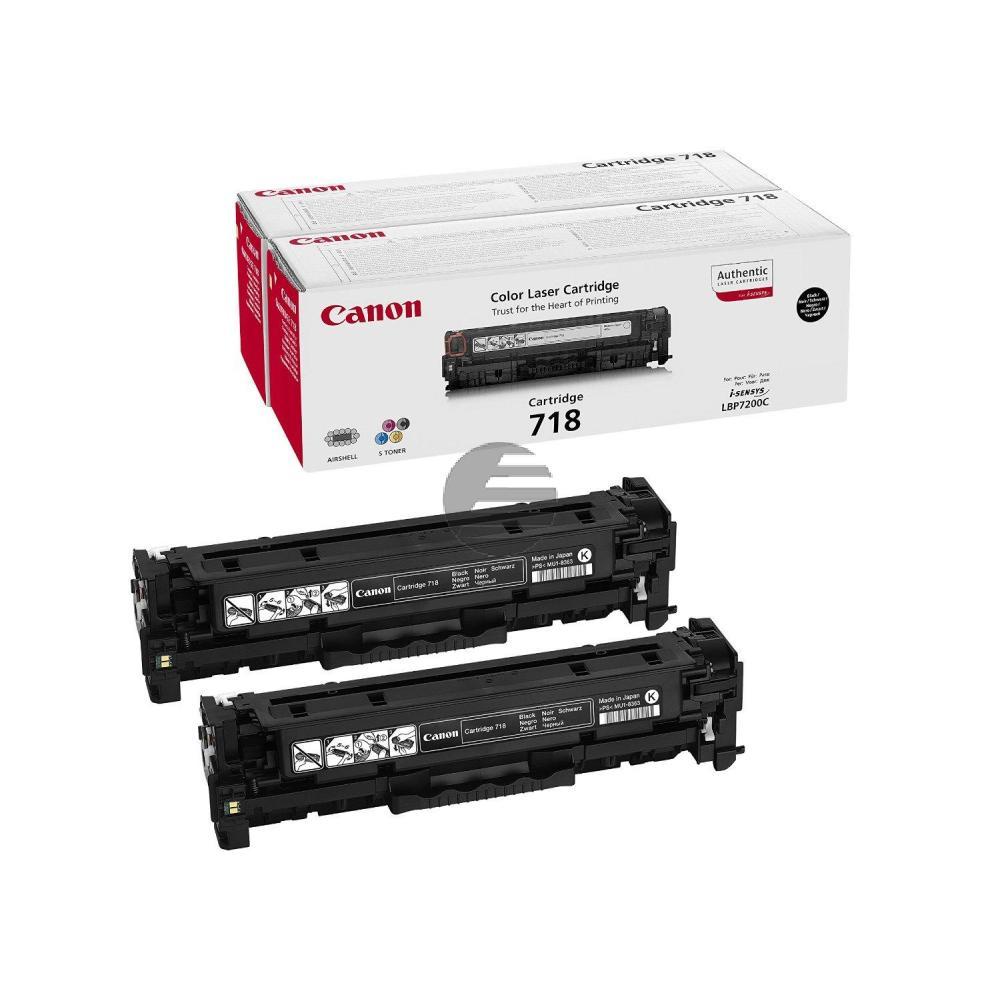 Canon Toner-Kartusche 2x schwarz 2 Pack (2662B005, 2x CL-718BK)
