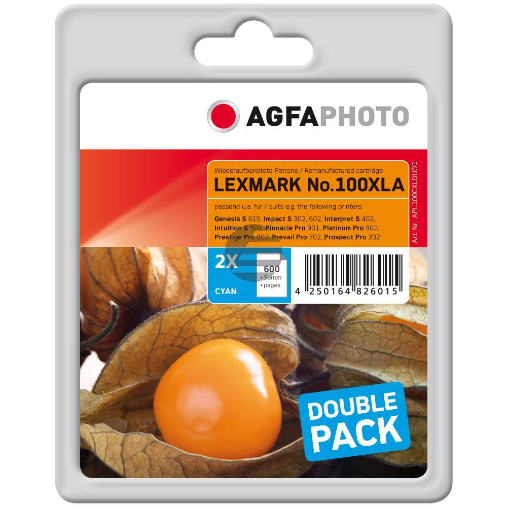 Agfaphoto Tintenpatrone 2x cyan HC (APL100CXLDUOD)