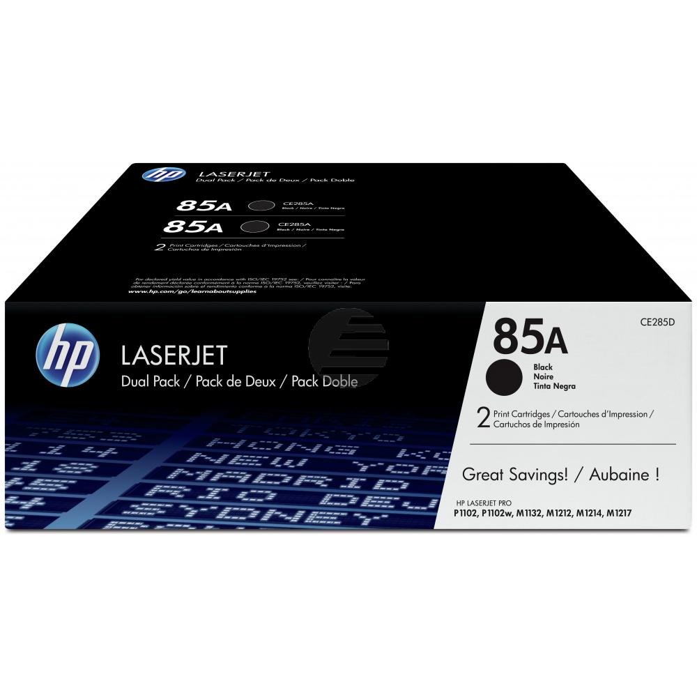 HP Toner-Kartusche 2x schwarz 2-er Pack (CE285AD, 85AD)