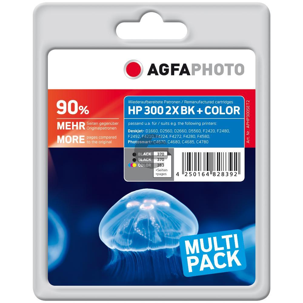 Agfaphoto Tintenpatrone cyan/gelb/magenta 2x schwarz HC (APHP300SET2)