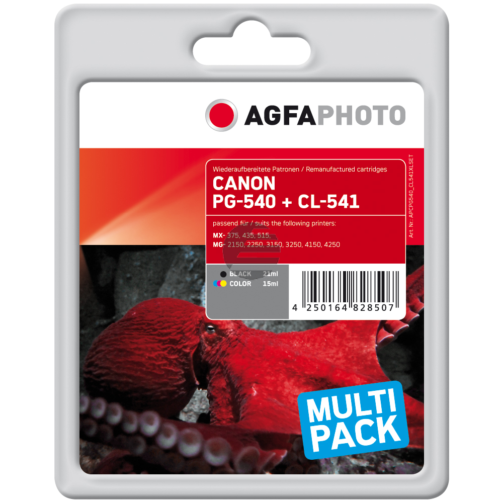 Agfaphoto Tintenpatrone cyan/gelb/magenta schwarz (APCPG540_CL541XLSET)