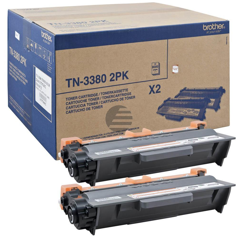 Brother Toner-Kartusche 2 x schwarz 2-Pack HC (TN-3380TWIN)