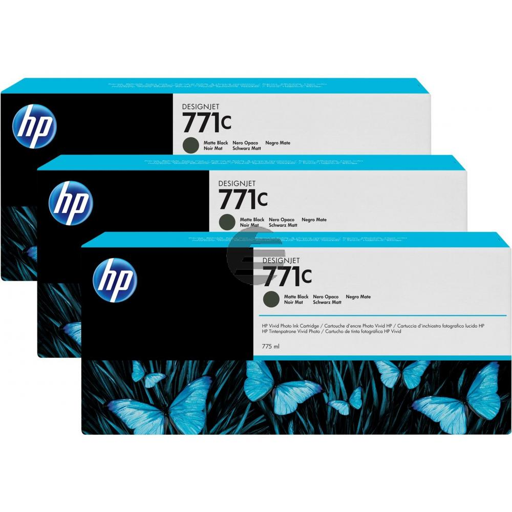HP Tintenpatrone schwarz matt 3er Pack (B6Y31A, 3 x 771C)