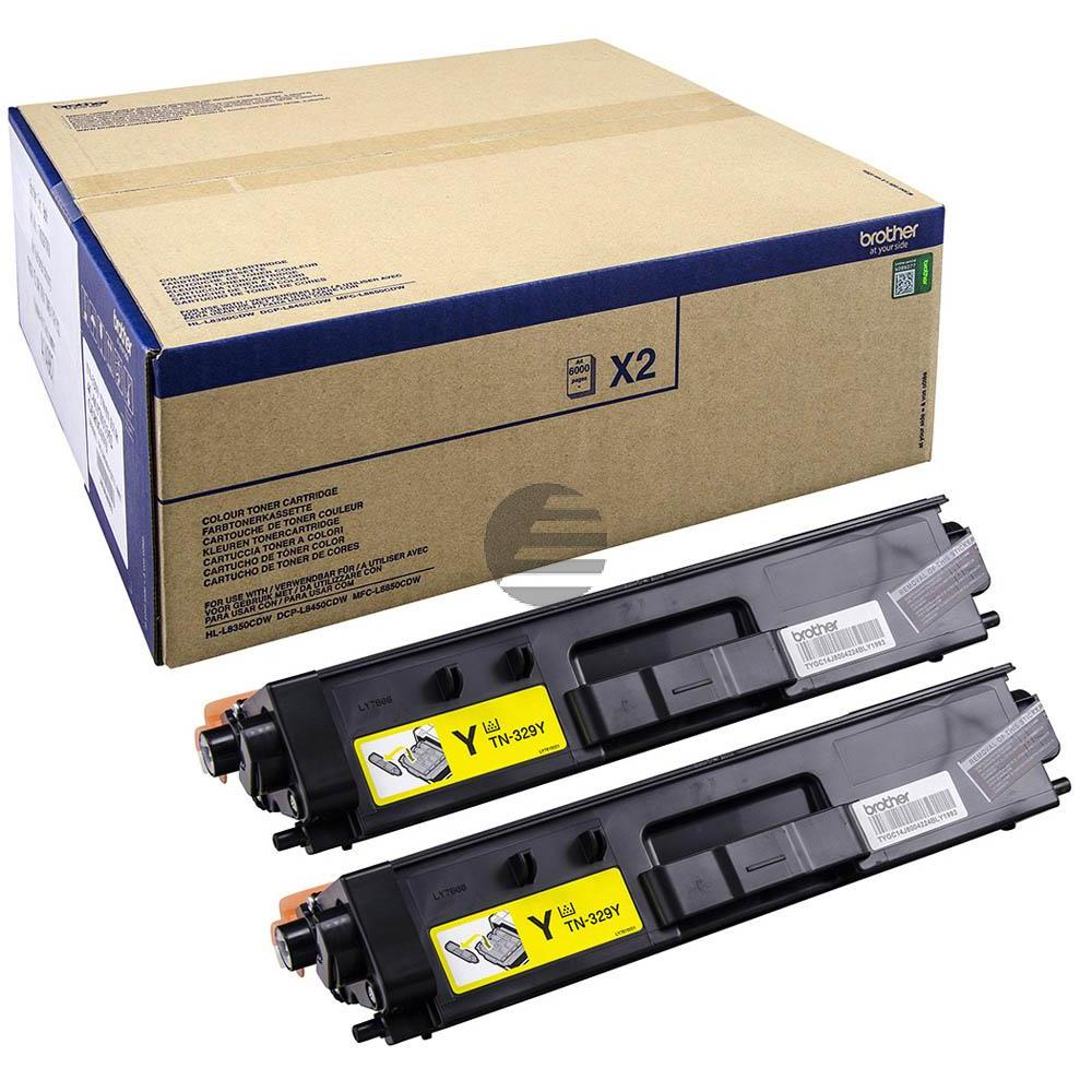 Brother Toner-Kartusche 2 x gelb 2-Pack (TN-329YTWIN)
