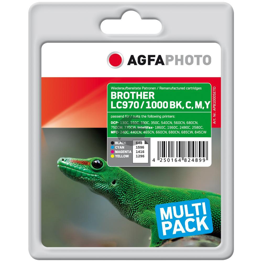 Agfaphoto Tintenpatrone gelb cyan magenta schwarz (APB1000SETD) ersetzt LC-1000BK / LC-1000C / LC-1000M / LC-1000Y / LC-970BK /