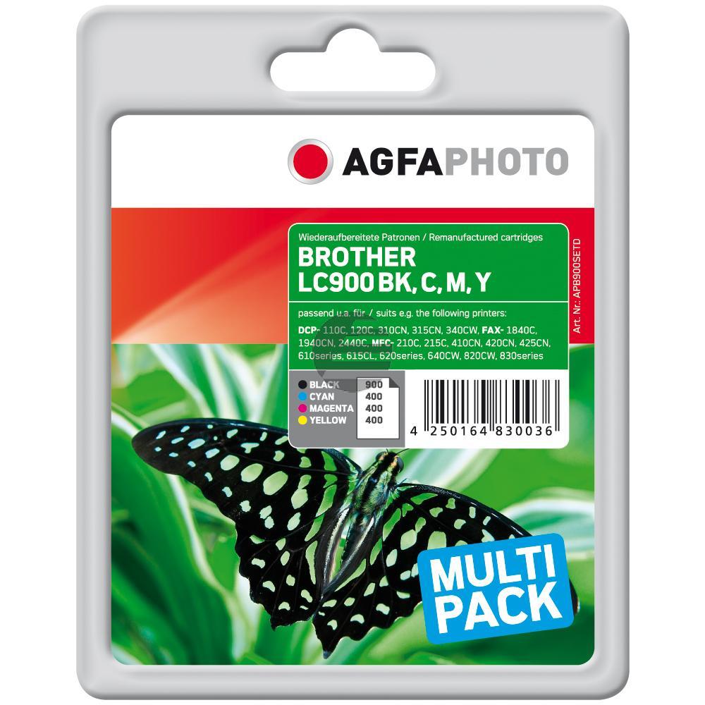 Agfaphoto Tintenpatrone gelb cyan magenta schwarz (APB900SETD) ersetzt LC-900VALBPDR