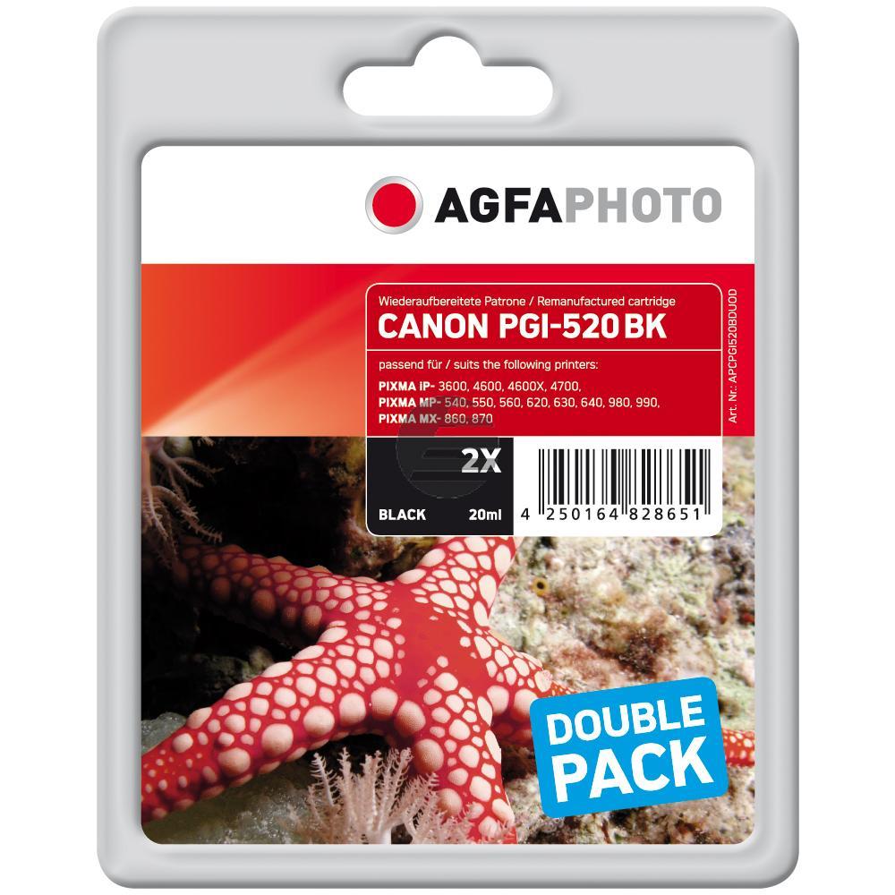 Agfaphoto Tintenpatrone 2 x schwarz (APCPGI520BDUOD) ersetzt 2932B012 / PGI-520PGBK