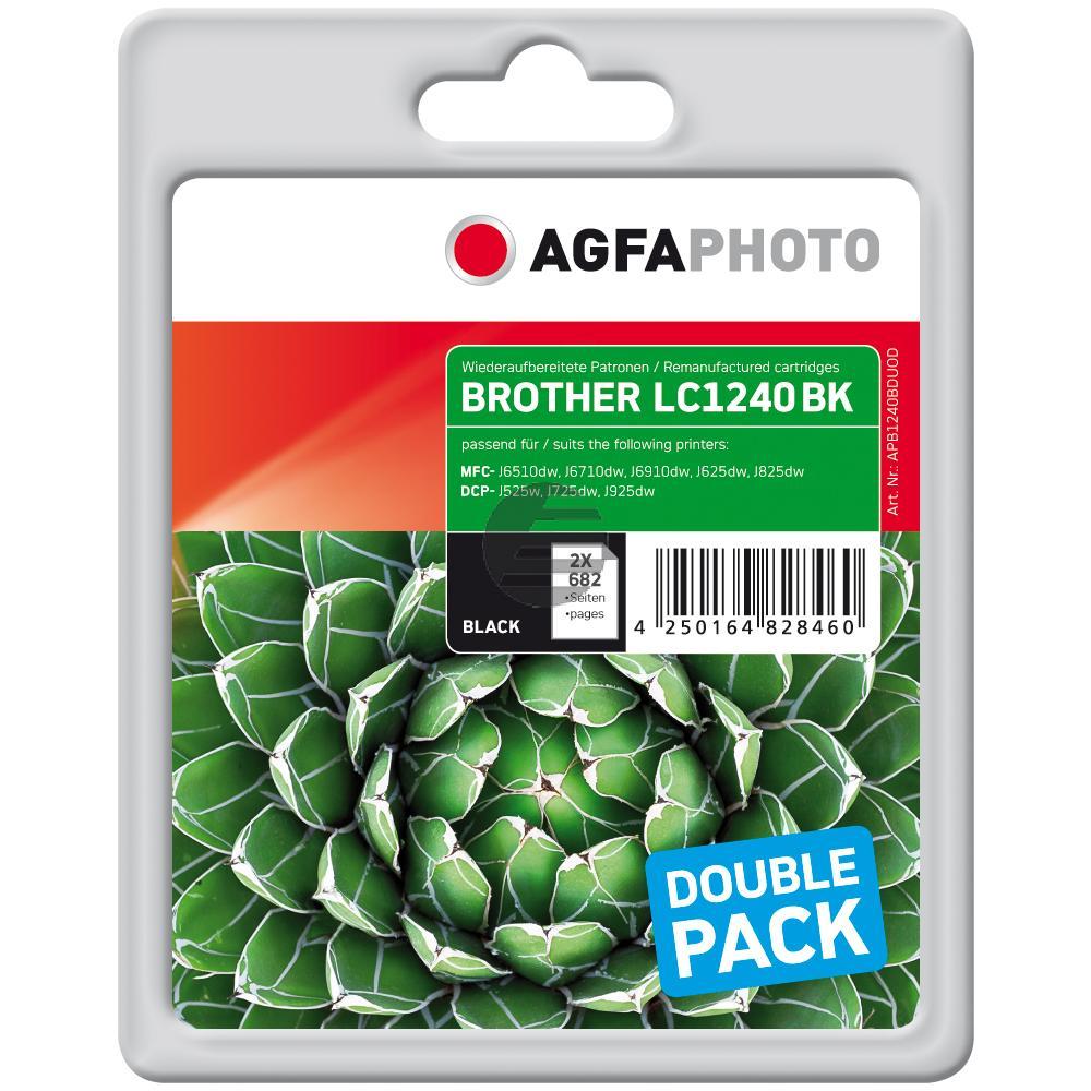 Agfaphoto Tintenpatrone 2 x schwarz (APB1240BDUOD) ersetzt LC-1240BKBP2DR