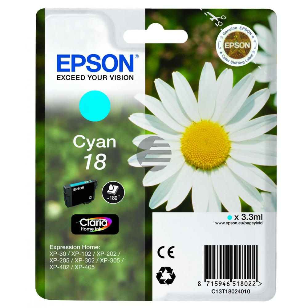 Epson Tinte Cyan (C13T18024020, T1802)