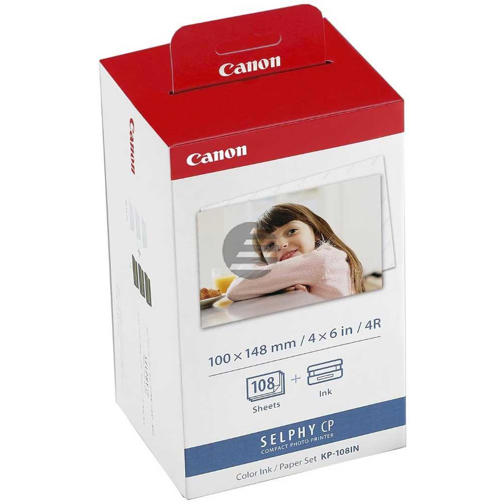 Canon Photo Paper 100x150mm Thermo-Transfer-Rolle 3 X 36 Seiten weiß farbig (3115B001, KP-108IN)