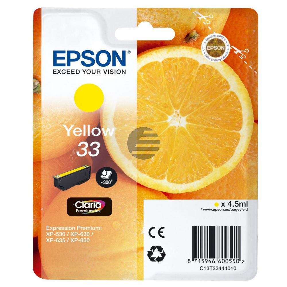 Epson Tintenpatrone with secure gelb (C13T33444012, T3344)