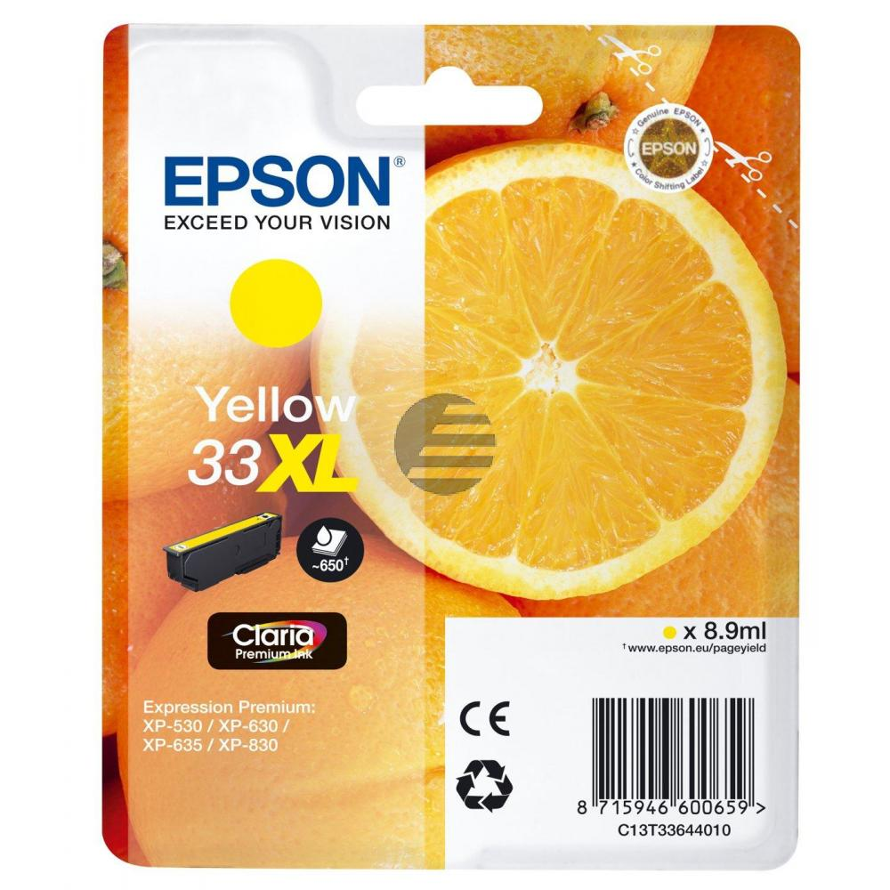 Epson Tintenpatrone with secure gelb HC (C13T33644012, T3364)