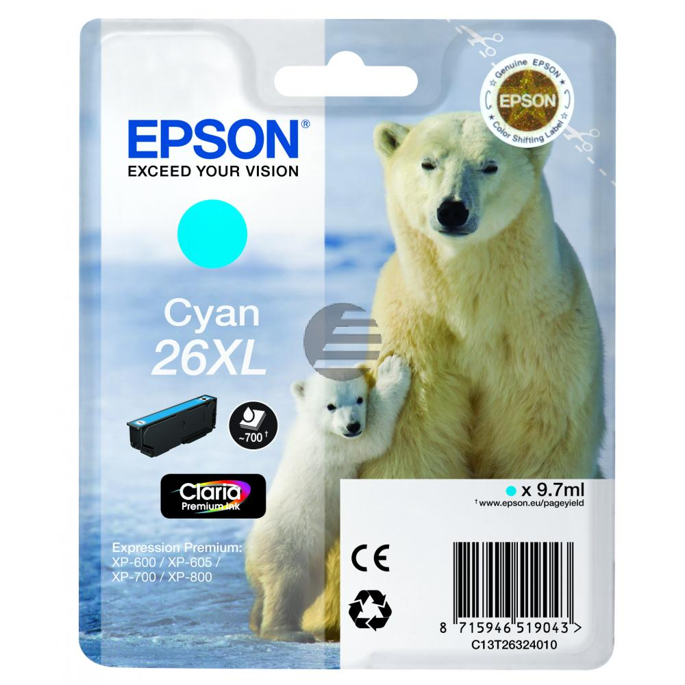 Epson Tinte Cyan HC (C13T26324022, T2632)