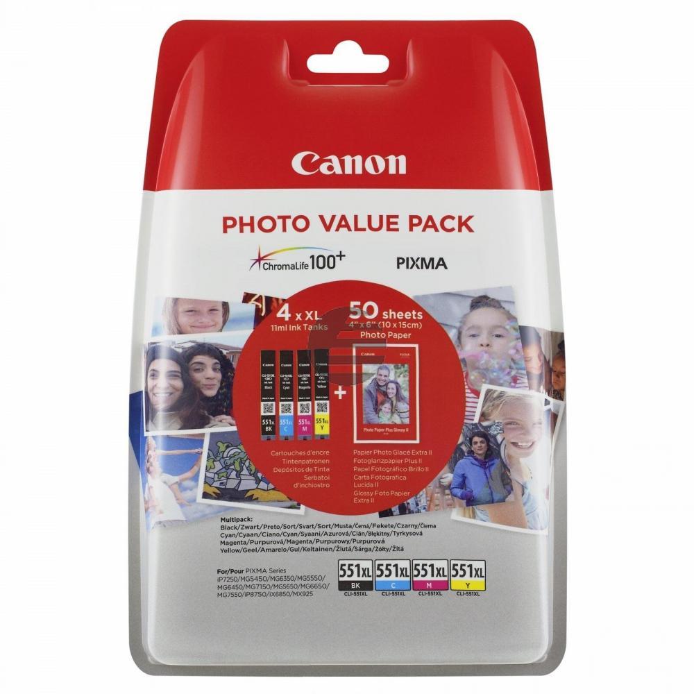 Canon Tinte Fotopapier 10 X 15 gelb Cyan Magenta schwarz HC (6443B006, CLI-551XL)