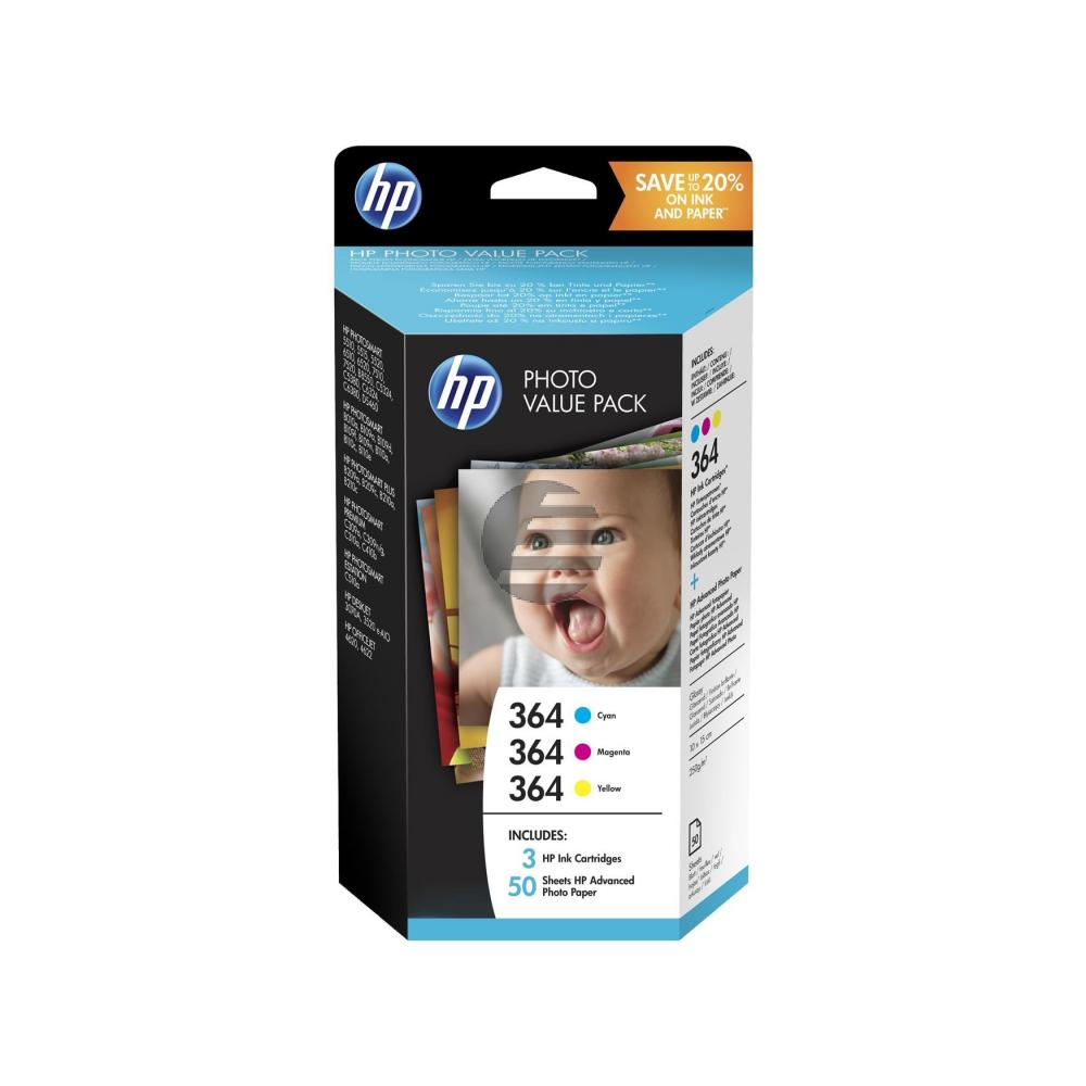 HP Tinte Photo Paper 100x150mm gelb Cyan Magenta (T9D88EE#301, 3x 364)