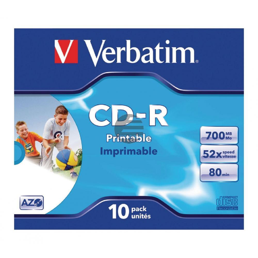 VERBATIM CDR80 700MB 52x (10) JC 43325 Jewel Case breit bedruckbar ID