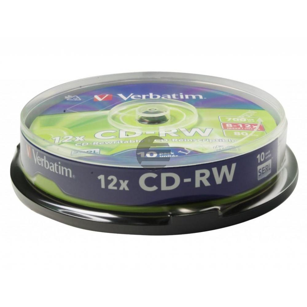 VERBATIM CDRW80 700MB 12x (10) SP 43480 Spindel kratzfest