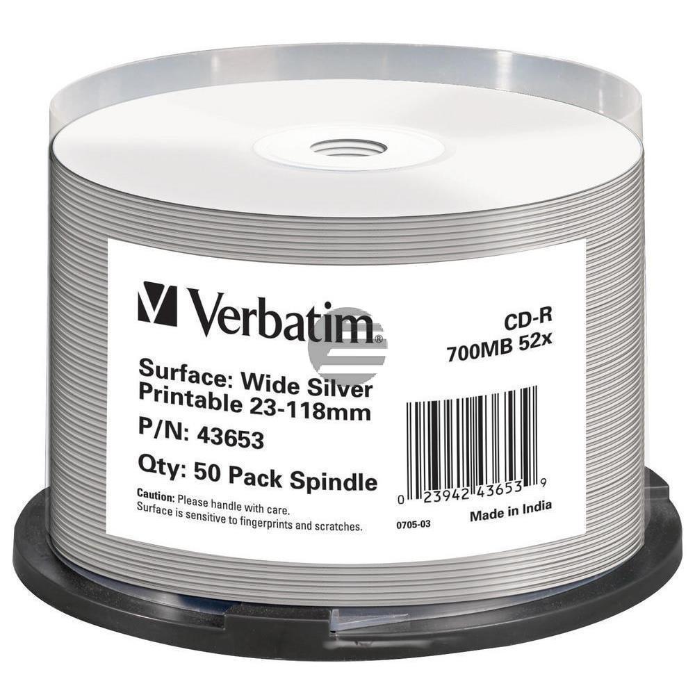 VERBATIM CD-R80 700MB 52x (50) CB SILBER 43653 tintenstrahlbedruckbar keine ID