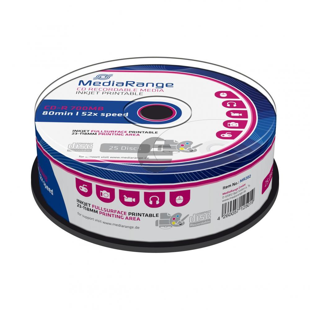 MEDIARANGE CDR80 700MB 52x (25) CB WEISS MR202 Cake Box tintenstrahlbedruckbar
