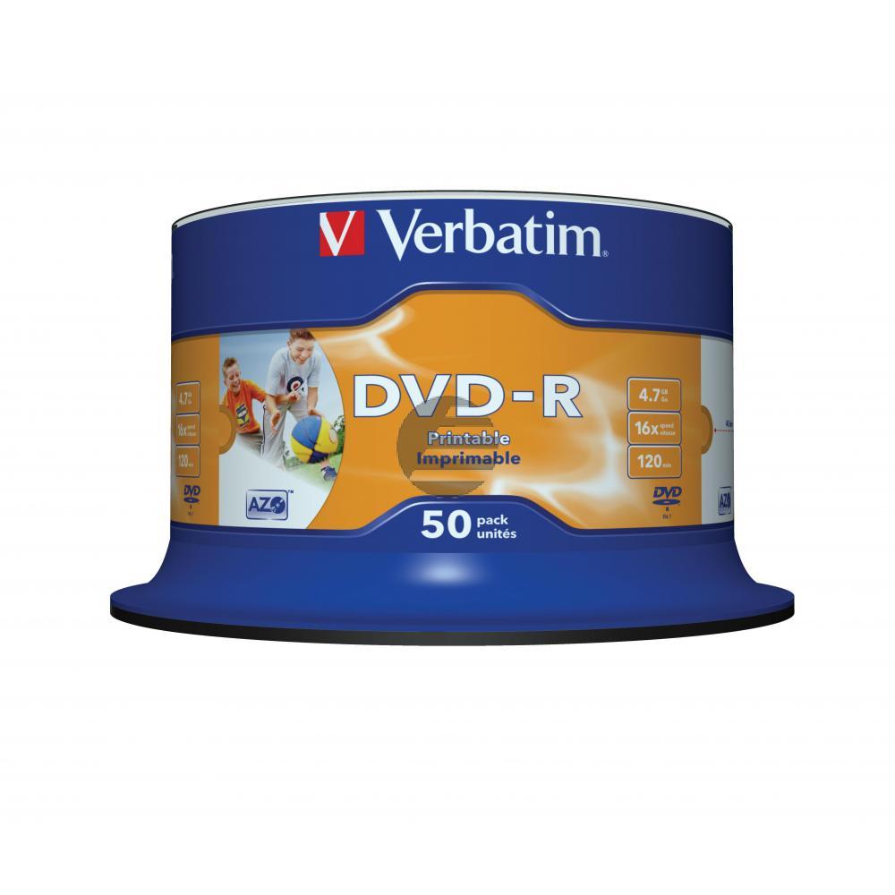 VERBATIM DVD-R 4.7GB 16x (50) SP 43533 breit foto bedruckbar keine ID