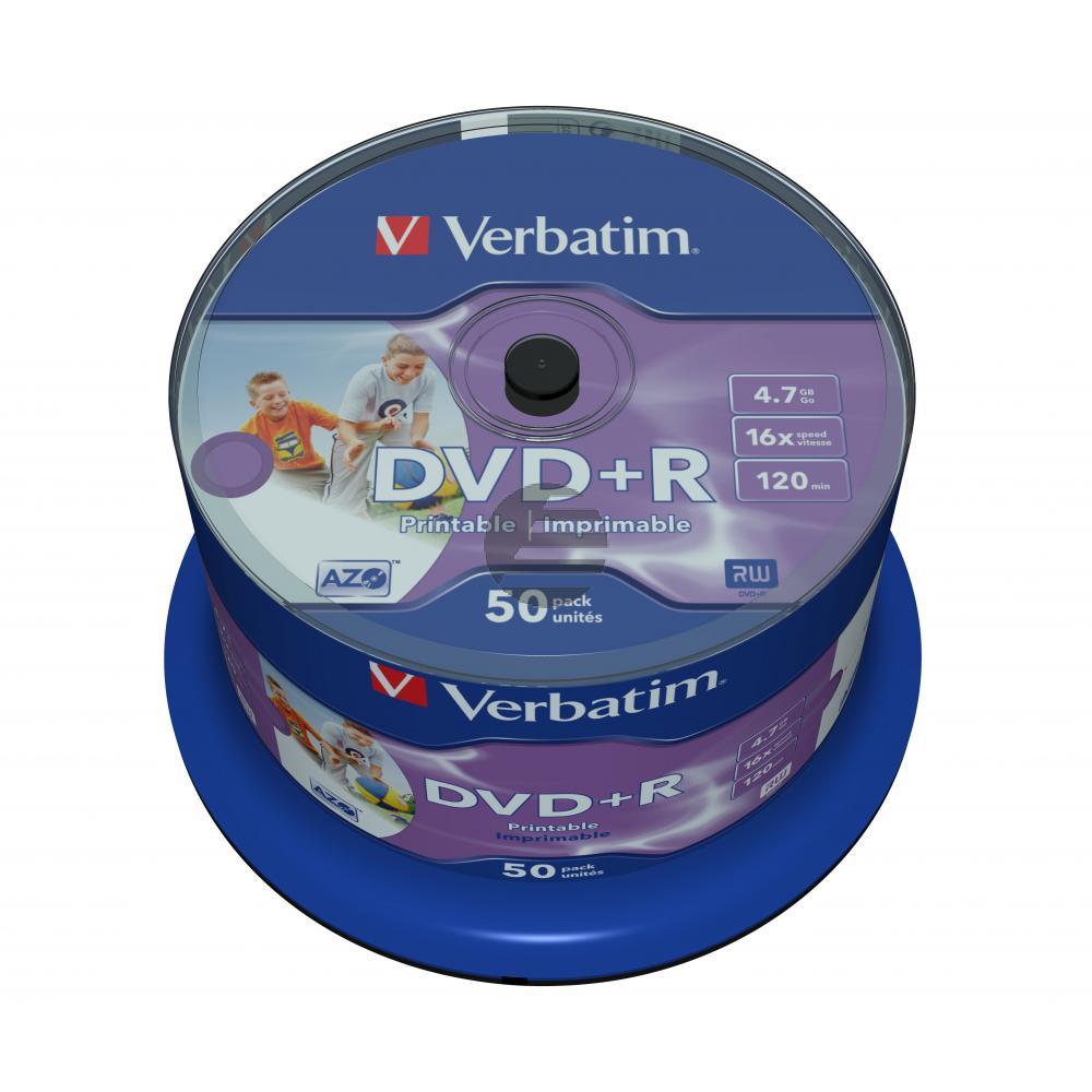 VERBATIM DVD+R 4.7GB 16x (50) SP 43512 breit foto bedruckbar keine ID