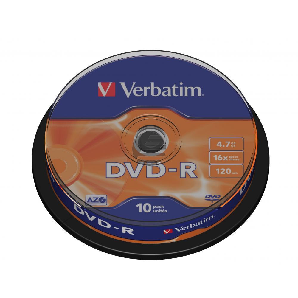 VERBATIM DVD-R 4.7GB 16x (10) SP 43523 Spindel matt silber