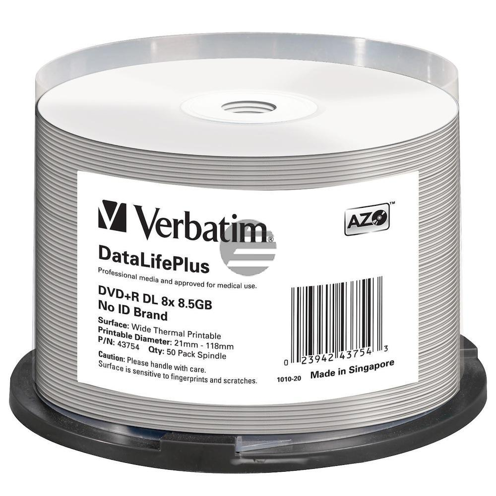 VERBATIM DVD+R 8.5GB 8x (50) SP 43754 Spindel Double Layer thermo weiss