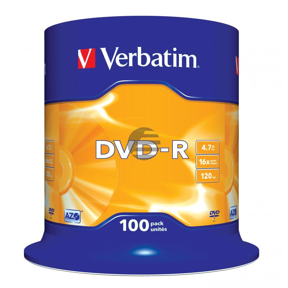 VERBATIM DVD-R 4.7GB 16x (100) CB 43549 Cake Box matt silber