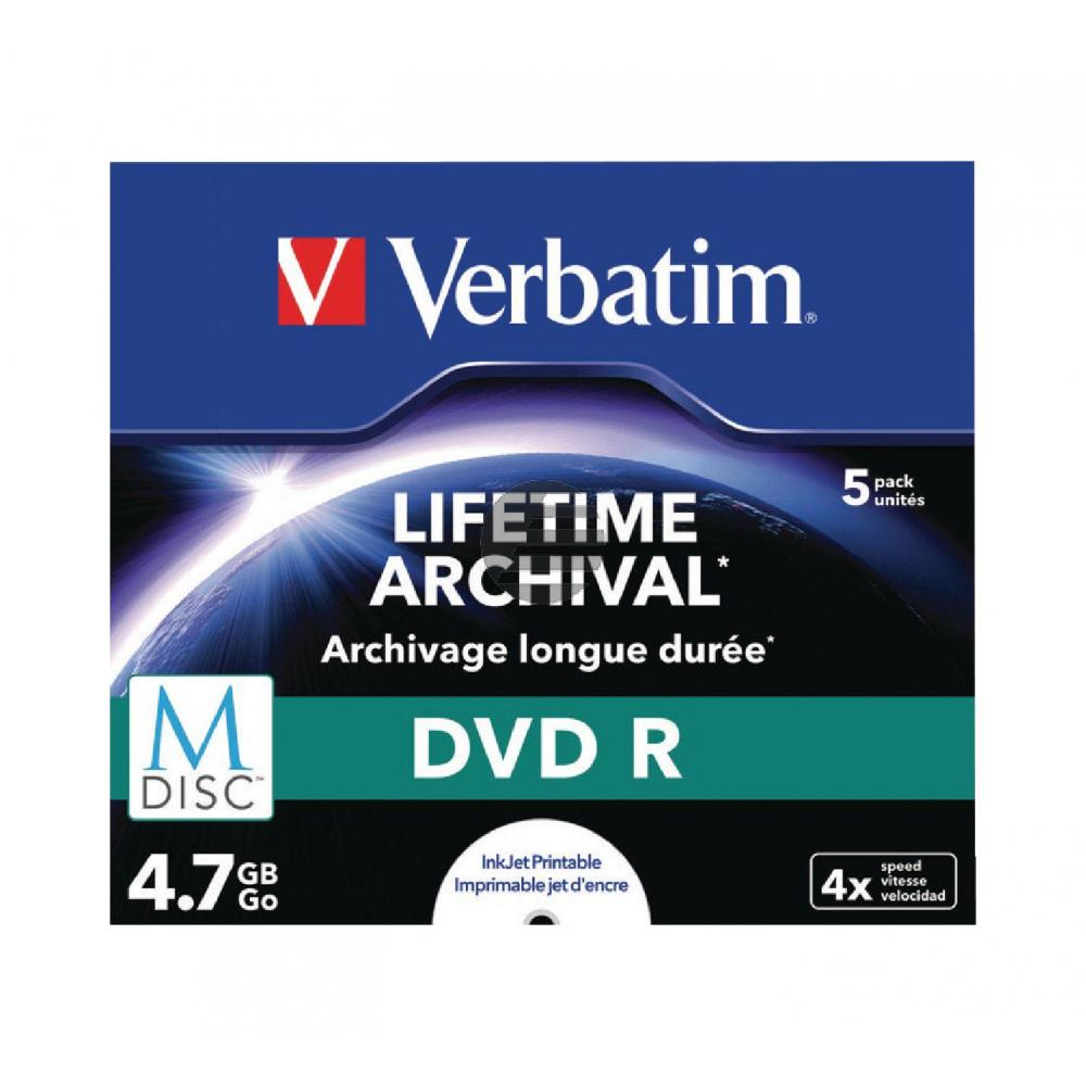 VERBATIM DVD-R 4.7GB 4x (5) JC 43821 Jewel Case MDISC