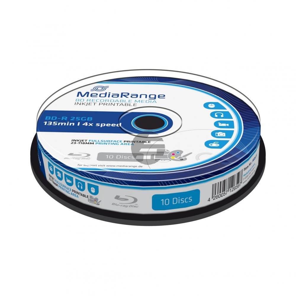 MEDIARANGE BD-R 25GB 4x (10) CB WEISS MR496 Cake Box tintenstrahlbedruckbar