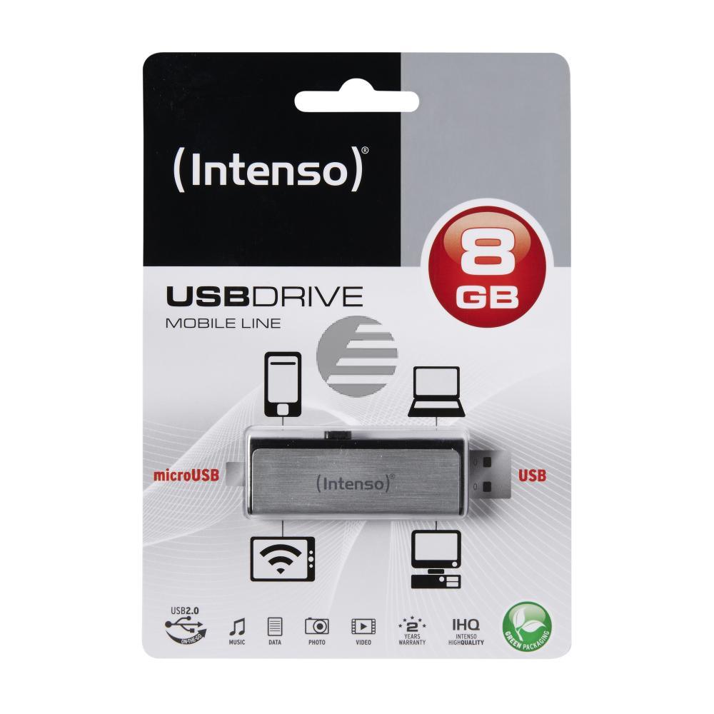 INTENSO USB STICK 2.0 8GB SILBER 3523460 Mobile Line
