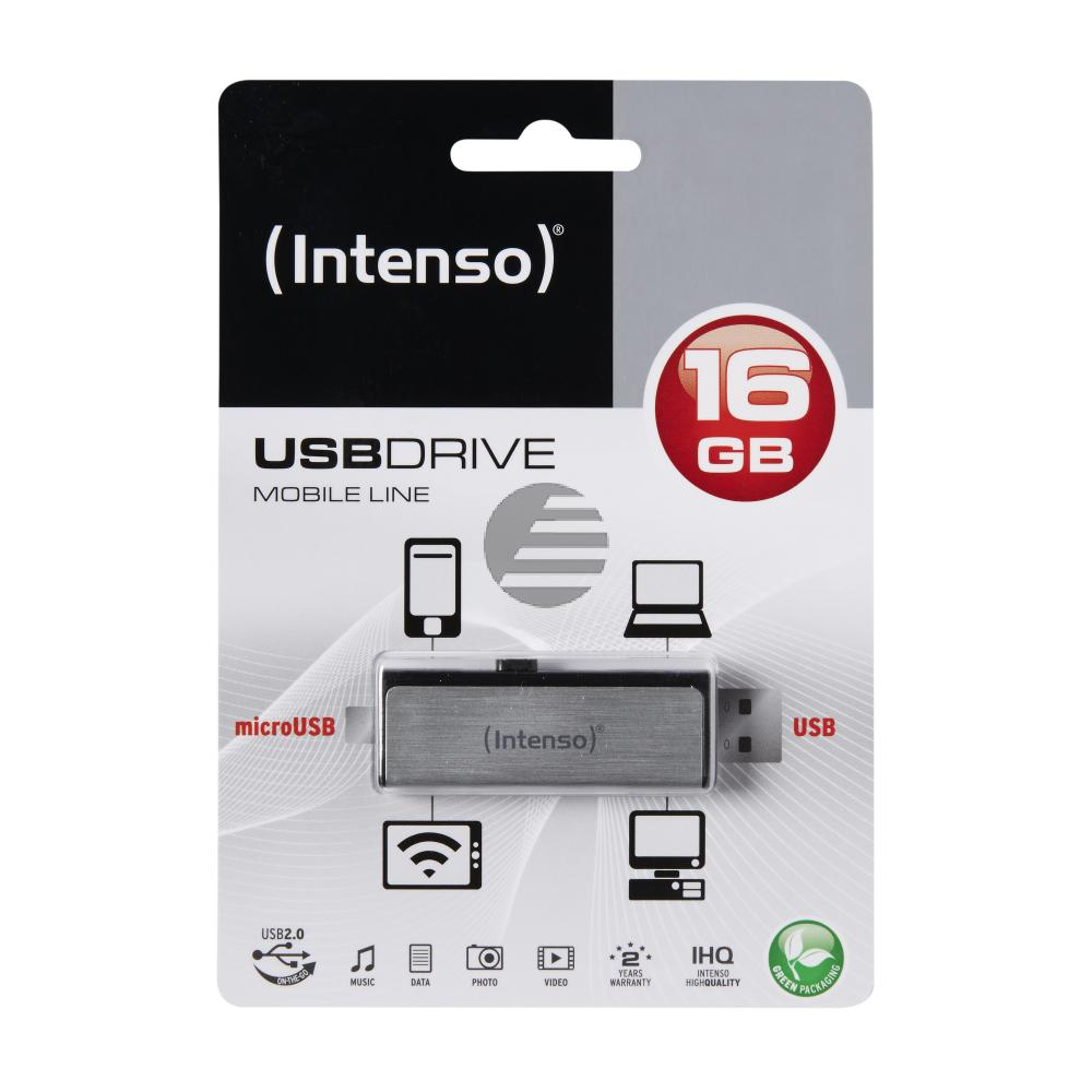 INTENSO USB STICK 2.0 16GB SILBER 3523470 Mobile Line