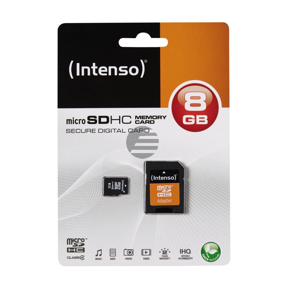 INTENSO MICRO SD SPEICHERKARTE 8GB 3403460 Klasse 4 mit SD Adapter