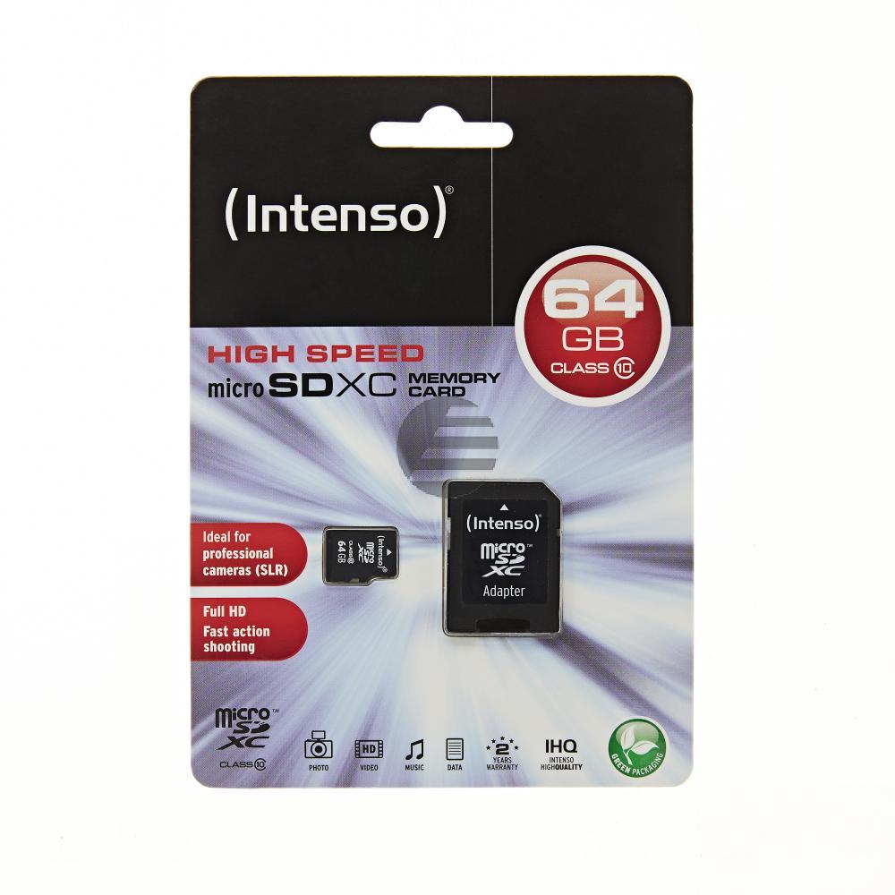 INTENSO MICRO SDXC SPEICHERKARTE 64GB 3413490 Klasse 10 mit SD Adapter