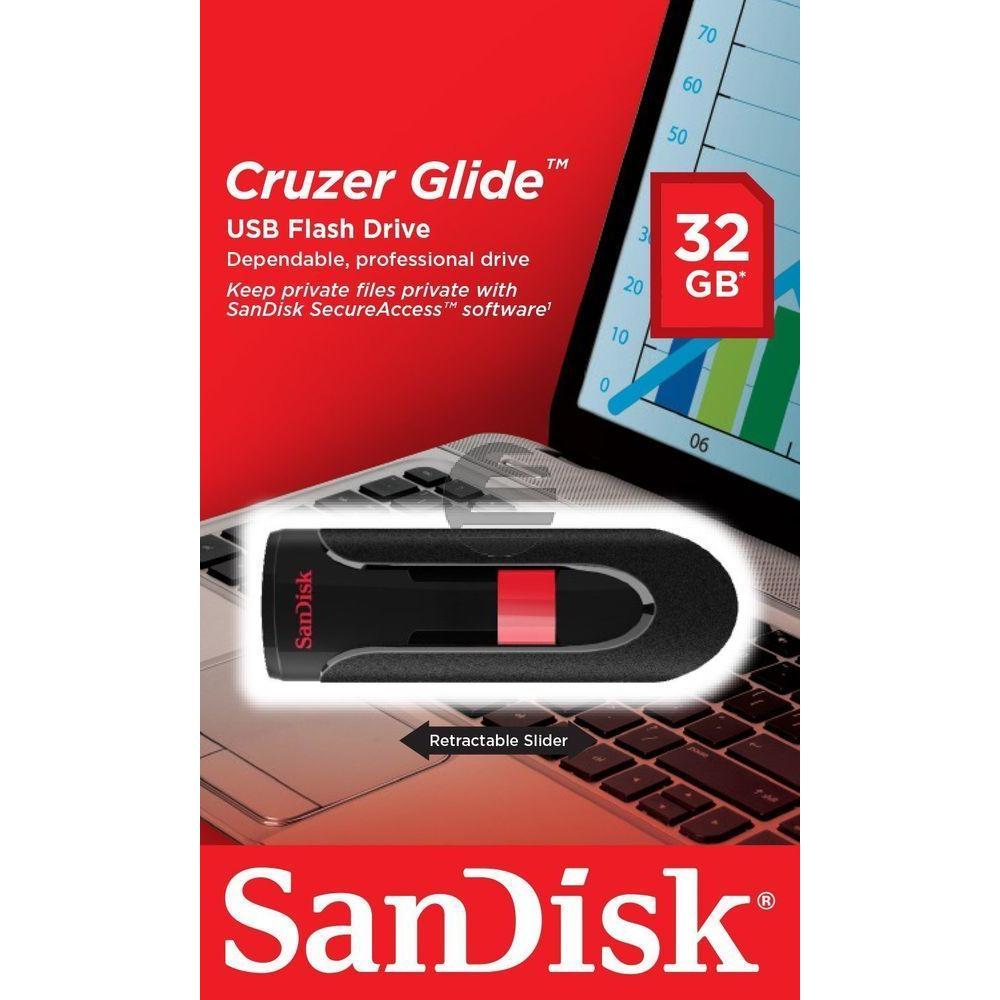 SANDISK CRUZER GLIDE USB STICK 32GB SDCZ60-032G-B35 USB 2.0 schwarz