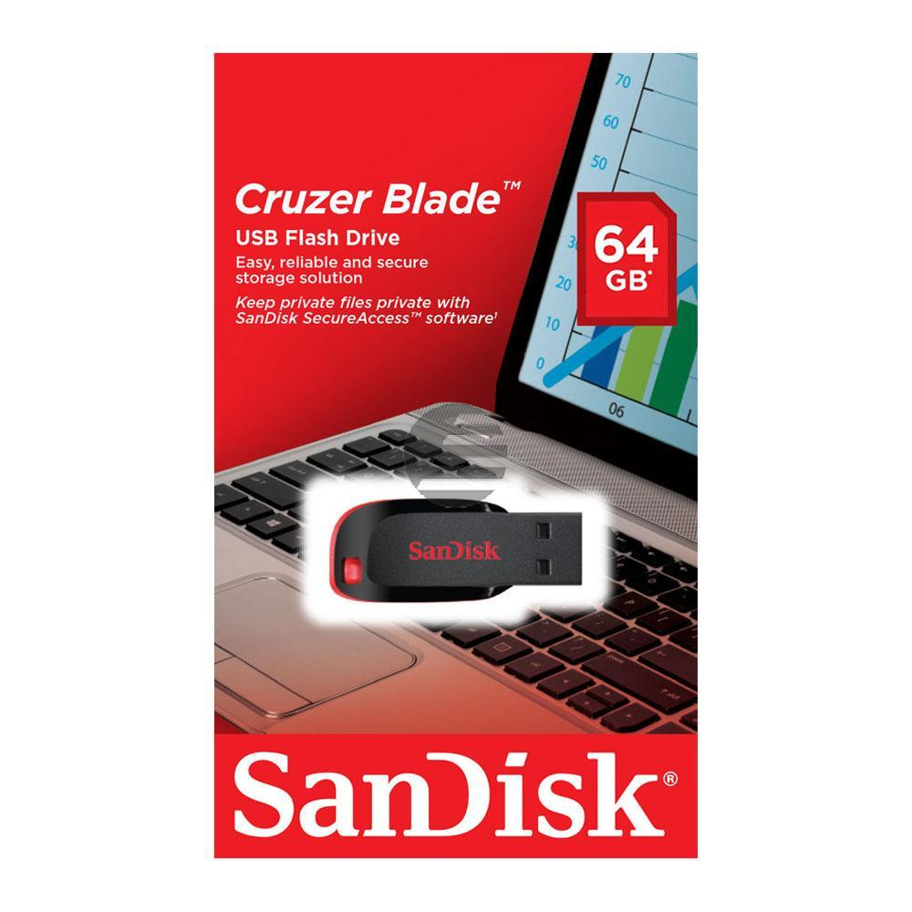 SANDISK CRUZER BLADE USB STICK 64GB SDCZ50-064G-B35 USB 3.0 schwarz-rot