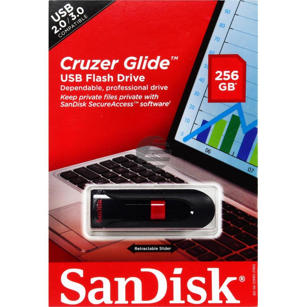 SANDISK CRUZER GLIDE USB STICK 256GB SDCZ60-256G-B35 USB 2.0 schwarz